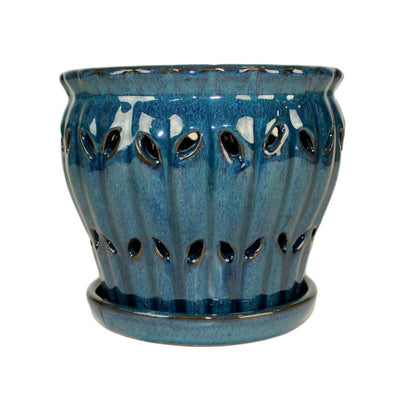 "6"" Teal Jade Pinwheel Fluted Orchid Pot"