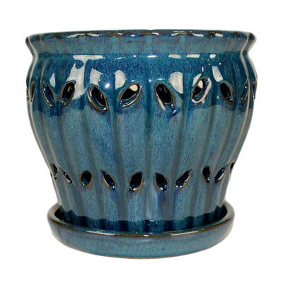 "8"" Teal Jade Pinwheel Fluted Orchid Pot"
