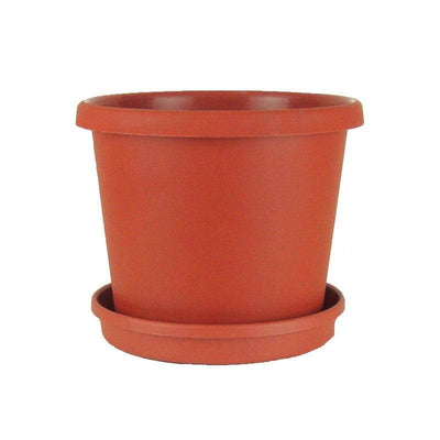 "10"" Terracotta Plastic Flower Pot with Saucer"
