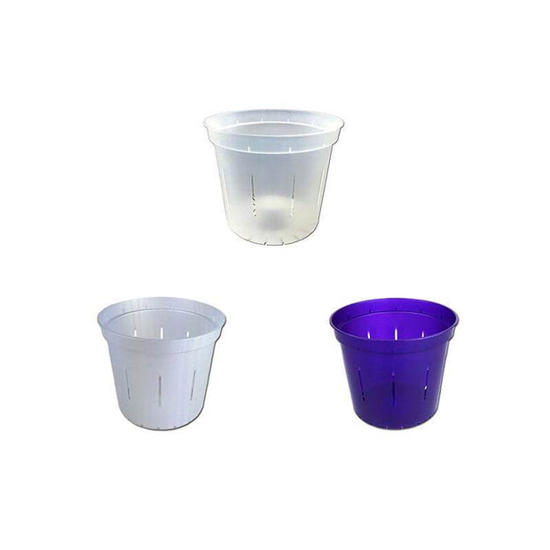 "3"" Slotted Orchid Pot - Sampler Pack 1 Each of White Pearl, Purple Amethyst, and Crystal Clear"