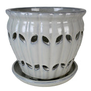 "10"" White Diamond Pinwheel Fluted Orchid Pot"