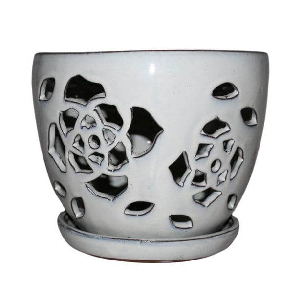 "6"" White Diamond Floral Cutout Orchid Pot"