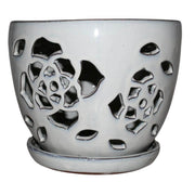 "8"" White Diamond Floral Cutout Orchid Pot"
