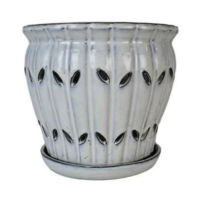 "8"" White Diamond Pinwheel Fluted Orchid Pot"