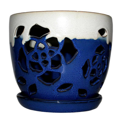 "8"" Sky Blue Over Cobalt Floral Cutout Orchid Pot"