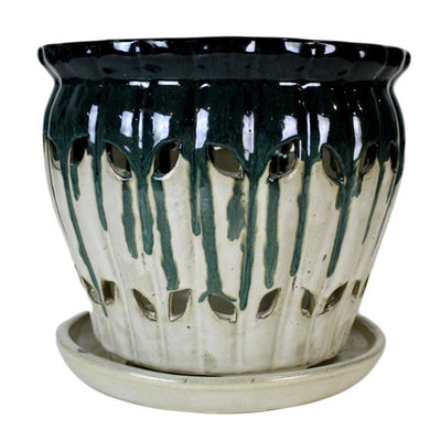 "10"" Emerald Over Cream Pinwheel Fluted Orchid Pot"
