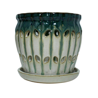 "5"" Evergreen Emerald Over Cream Pinwheel Fluted Orchid Pot"