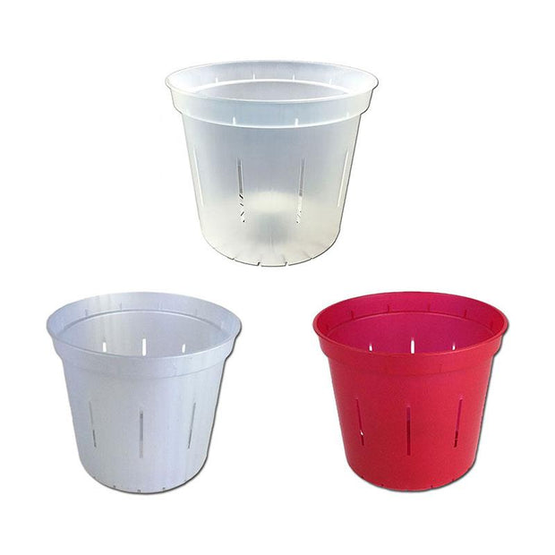 "4"" Slotted Orchid Pot - Sampler Pack 1 Each of White Pearl, Red Ruby, and Crystal Clear"