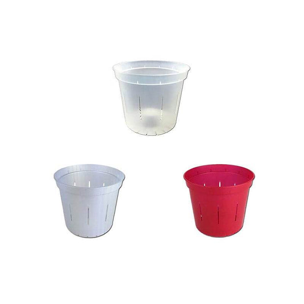 "3"" Slotted Orchid Pot - Sampler Pack 1 Each of White Pearl, Red Ruby, and Crystal Clear"