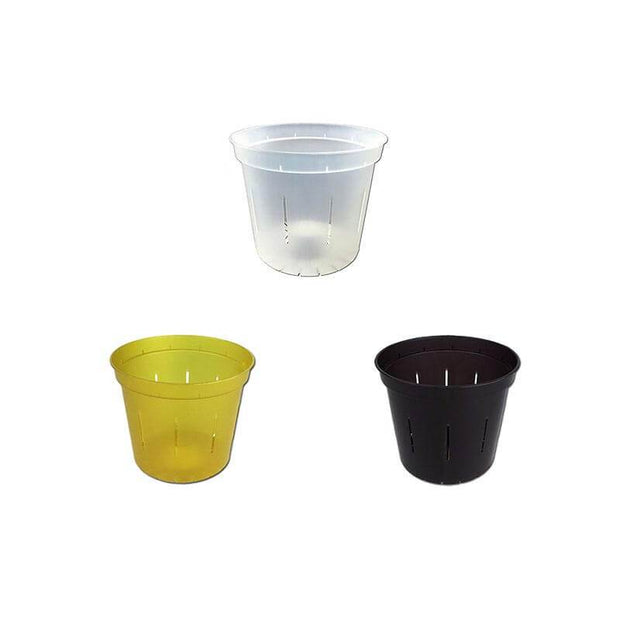 "3"" Slotted Orchid Pot - Sampler Pack 1 Each of Yellow Topaz, Black Onyx, and Crystal Clear"
