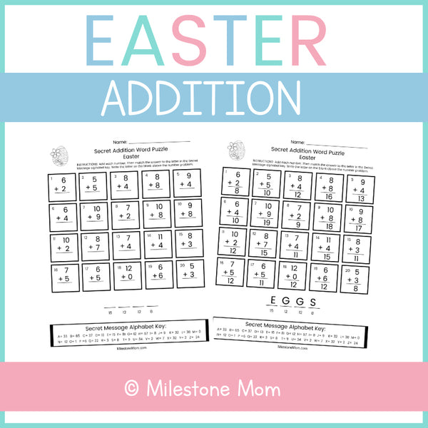 Easter Addition Word Puzzle