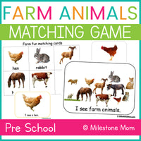 Farm Animals Matching Game and Book