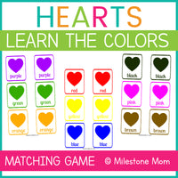 Heart Themed Learn the Colors Matching Game