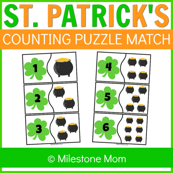 St. Patrick's Day Counting Puzzle Match