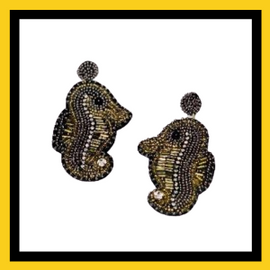 Beaded Sea Horse - Black