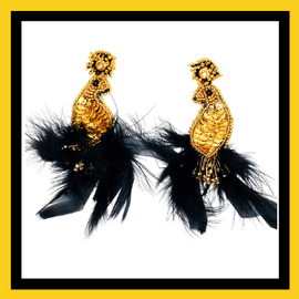 Bird Feather/Beaded Earrings