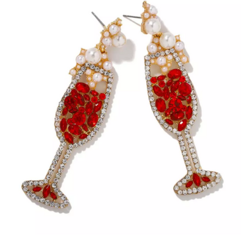 Red Champagne/Wine Earrings