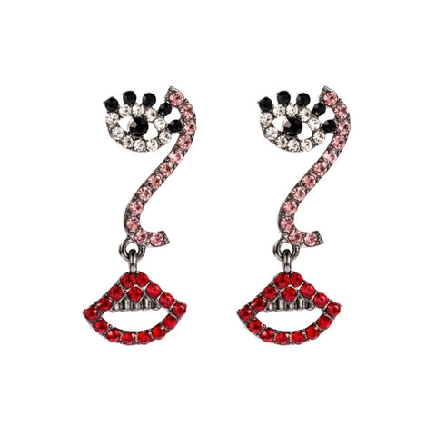 Eye/Lip Rhinestone Earrings