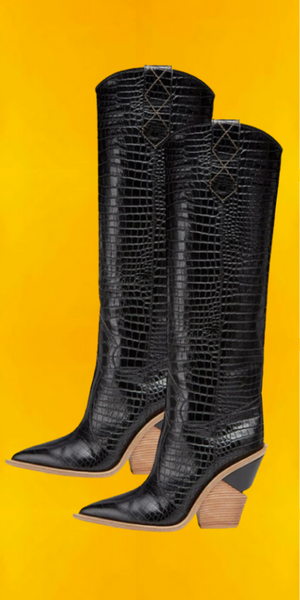 Pre-Order Black Faux Leather Boots (Mid Calf)