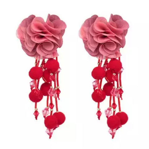 Red/Pink Flower Earrings