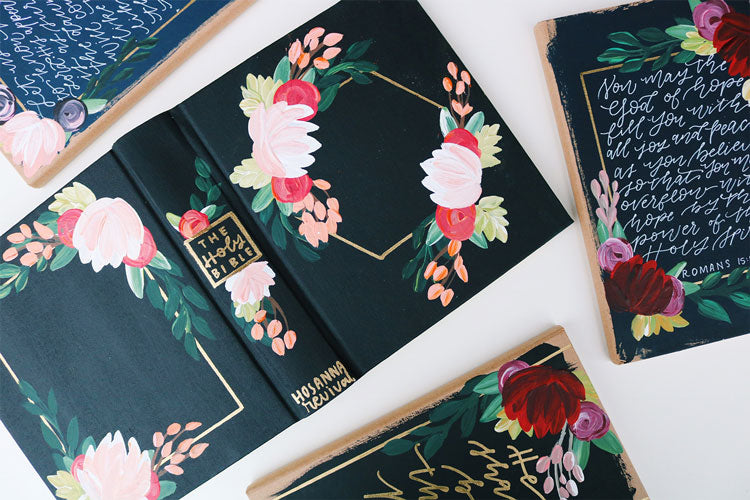 Hand Painted Bible with Flowers