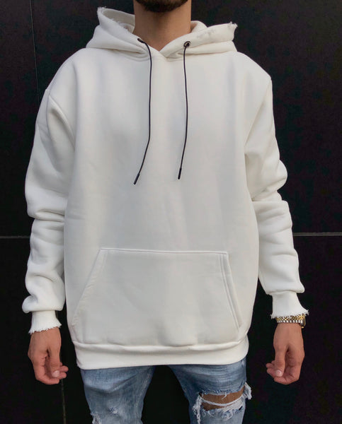 White Distressed Oversized Basic Hoodie