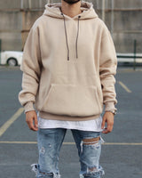 Beige Distressed Oversized Basic Hoodie
