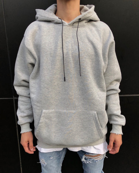 Grey Distressed Oversized Basic Hoodie
