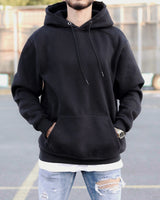 Black Distressed Oversized Basic Hoodie