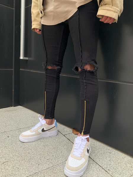 Black Distressed Jeans with Gold Zipper