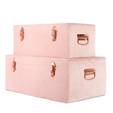 Luxe Velvet Storage Case Set - Dusty Pink