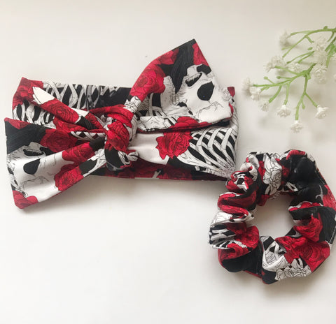 Skulls and Roses Headwrap + Scrunchie