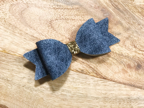 denim glam handmade baby girl hair bow head band hair clip