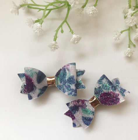 Floral Glitter Piggy Clips - 2 Colours
