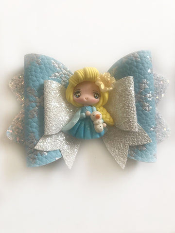 Elsa Frozen Clay Hair Bow