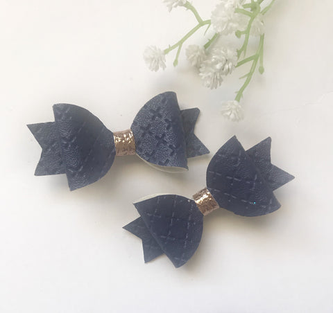 Navy Quilted Piggy Clips