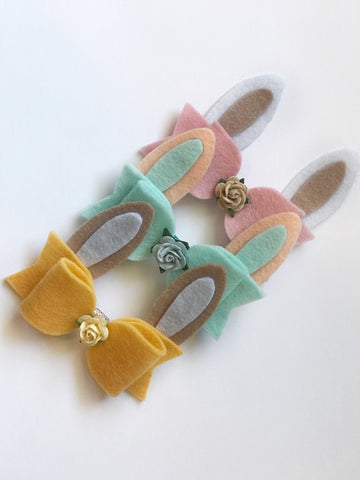 Felt Bunny Ears Bow - 3 colours to choose from