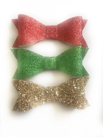 Classic Christmas Hair Bows Set of 3