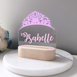kids LED personalised rainbow night light unisex tiara