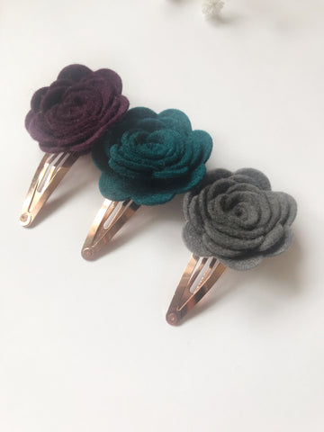 plum teal grey hand rolled handmade felt flower roses rose gold snap clips