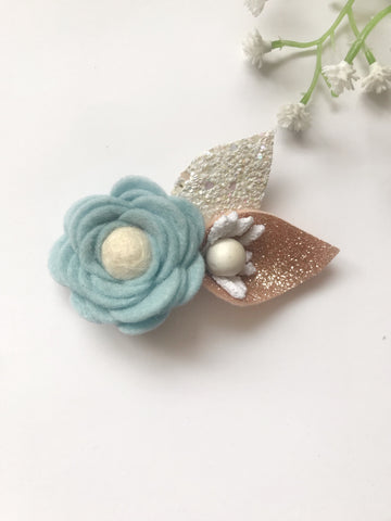 baby blue hand rolled felt rose baby girl hair clip