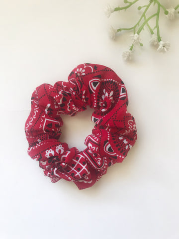 Red Bandana Scrunchie