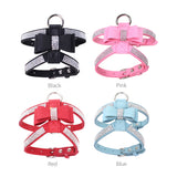 Pink Dog Harness with Rhinestone Adjustable Pet Vest Leash Female Charming Cute