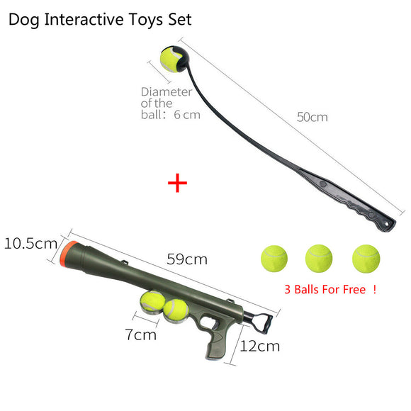 Dog Ball Thrower Launcher Set Pet Interactive Toys Easy Grabber Outdoor Play