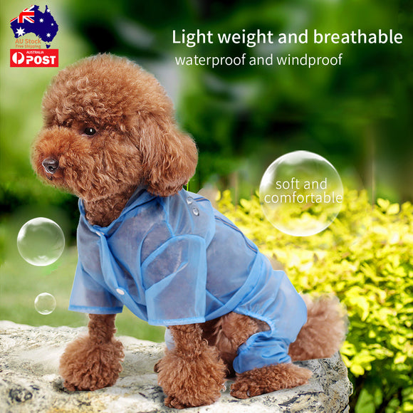 Dog Raincoat Puppy Clothes Pet Rain Jacket Reflective Waterproof Hooded Dog Coat