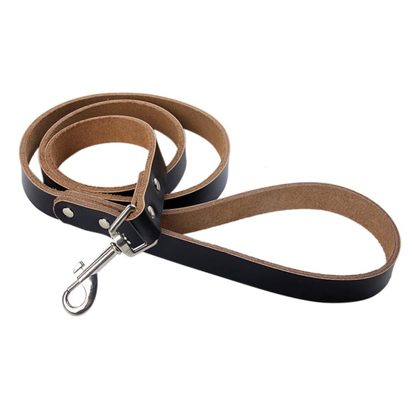 Dog Leash Pet Leads Durable Genuine Leather Non-slip Handle Tangle-Free Buckle