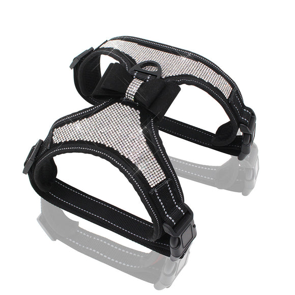 Dog Harness No Pull Rhinestone Pet Vest Reflective Adjustable Harness Bow Tie