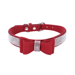 Pet Dog Bowknot Collar with Rhinestone Adjustable Charming Puppy Collars Cute