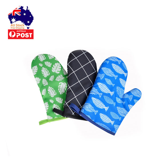 1 Pc Padded Oven Gloves Mitts Non-slip Kitchen Baking Cook Microwave BBQ DIY