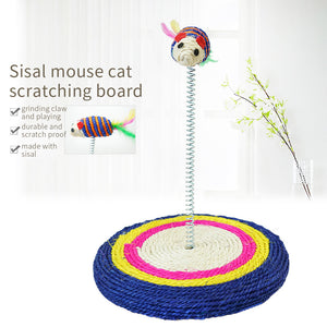 Cat Stratcher Toy with Bounce Mouse Kitten Scratching Sisal Board Interactive